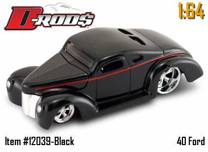 Jada Dub City D-Rods Black 40 Ford with Red Pin Stripe 1:64 Scale Die Cast Car - 1