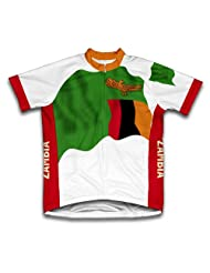 Zambia Flag Short Sleeve Cycling Jersey for Women