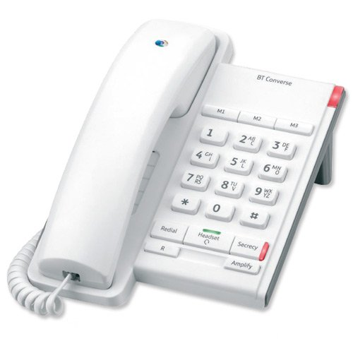 BT Converse 2100 Telephone 1 Redial Mute Function 3 Number Memory White Ref 040205 image