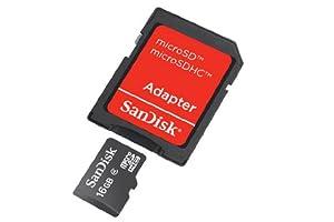 SanDisk 16 Go Carte mémoire microSDHC avec adaptateur Classe 4 SDSDQB-016G-B35