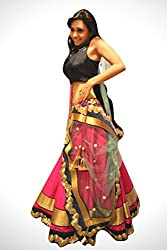 Fabron pink embroidered lehenga with matching dupatta for woman