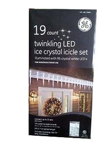 GE 19 Ct Twinkling LED Ice Crystal Icicle Set