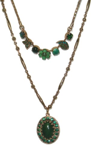 Amaro Jewelry Studio 24K Rose Gold Plated Multi Level Necklace from 'Deep Forest' Collection Enhanced with Flower, Leaf and Butterfly Elements, Garnet, Cape Amethyst, Green Moss Agate, Cat's Eye, Green Abalone, Jade Dyed Green, Swarovski Crystals