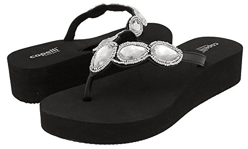 Capelli New York Faux Leather Thong with Gem Ladies Flip Flop Black Combo 8 (Capelli New York Sandals compare prices)