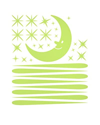 Ambiance-sticker Vinile Decorativo Moon And 30 Falling Stars Glow In The Dark