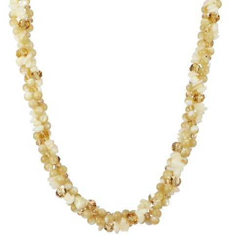 3 Row Mother of Pearl Bead and Chip with Champagne Color Faceted Glass Beads and Gold Tone Clasp Necklace, 18
