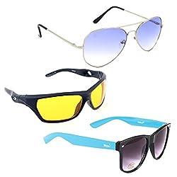 Elligator Stylish Aviator Silver Blue And Nightvision Yellow With Blue Wayfarer Sunglasses Combo ( Set of 3 )