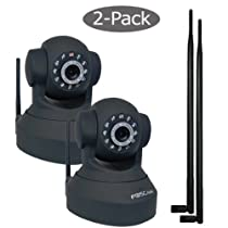 Foscam Pan And Tilt Wireless IP Camera with 9bdi antennas 2 pack FI8918W