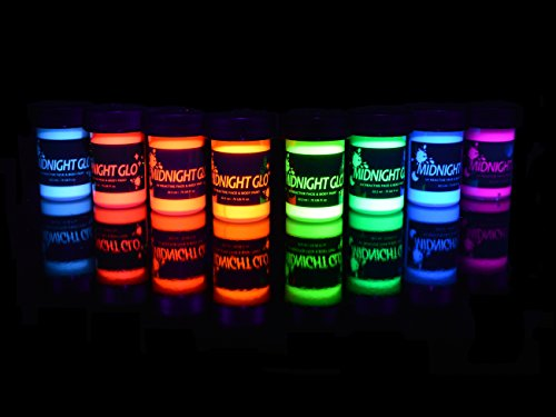UV Body Paint Neon Glow Kit (Set of 8 Bottles .75 oz. Each) - Blacklight Reactive Fluorescent Paint - Safe On Skin, Washable, Non-Toxic, By Midnight Glo (Golden Neon Paint compare prices)