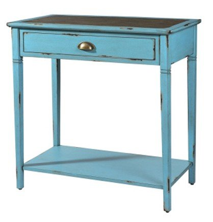 Image of Rectangular Console Hall Table with Glass Inlay Top in Distressed Blue Finish (AZ00-38929x21295)