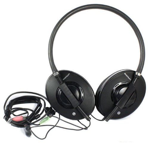 Bestpriceam 3.5Mm Powerful Bass Noise Reduction Microphone Headset For Pc Msn Skype (Black)