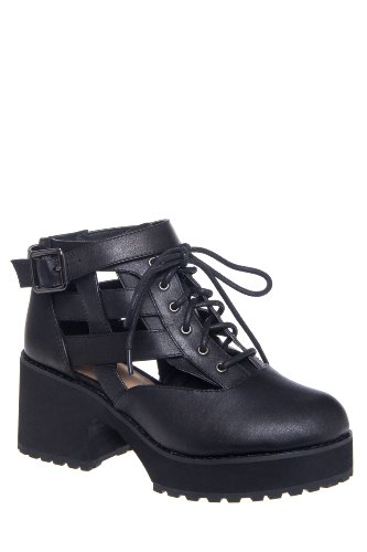 Shellys London Milligan High Heel Cutout Platform Lace Up Shoe