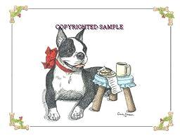 Boston Terrier - Christmas Design by Cindy Farmer