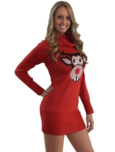 Ugly Christmas Sweater – Bucktooth Rudolph Sweater Dress by Tipsy Elves – Large