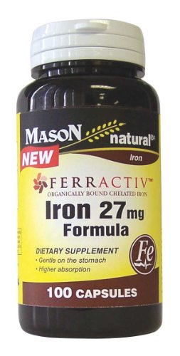 Mason Vitamins Iron 27mg Formula Brand Comparable To Ferractiv Organically Bound Chelated Iron, 100-Capsules