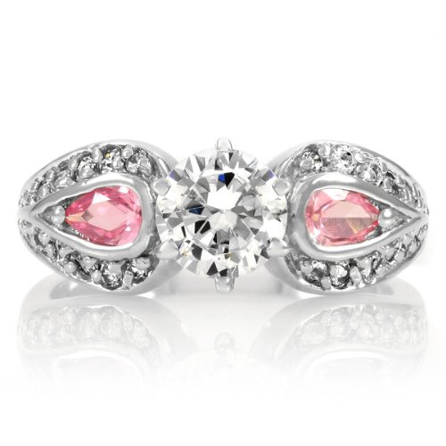 Carwen's Round Cut Engagement Ring - Pink Accents