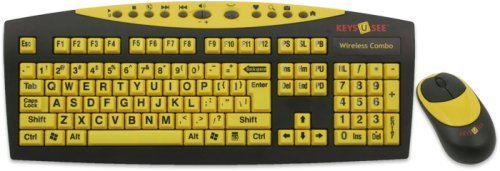 Keys-U-See Wireless Large Print English Usb Keyboard With Wireless Mouse Bundle (Black & Yellow) Large Letters On Keys For Visually Impaired