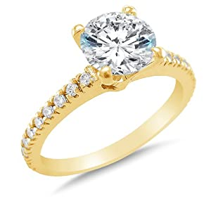 Size 5.5 - Solid 14k Yellow Gold Classic Traditional Round Brilliant Cut Solitaire Highest Quality CZ Cubic Zirconia Engagement Ring 1.5ct.