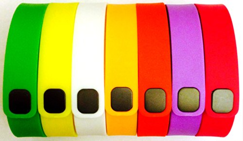 ! Set 7 Colors Large L Replacement Bands + 1pc Free Large Grey Band With Clasp for Fitbit FLEX Only /No tracker/ 1pc Violet 1pc White 1pc Green 1pc Yellow 1pc Orange 1pc Red (Tangerine) 1pc Purple / Pink Wireless Activity Bracelet Sport Armband