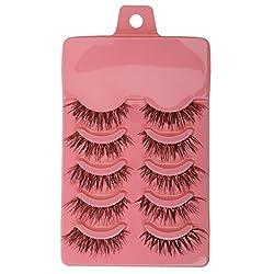 Generic 5 Pairs Popular Long Cross False Eyelashes Soft Fiber Eye Lashes - dark pink