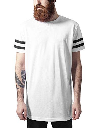 Urban Classics Stripe Mesh Tee-T-shirt  Uomo    Mehrfarbig (wht/blk 224) Medium