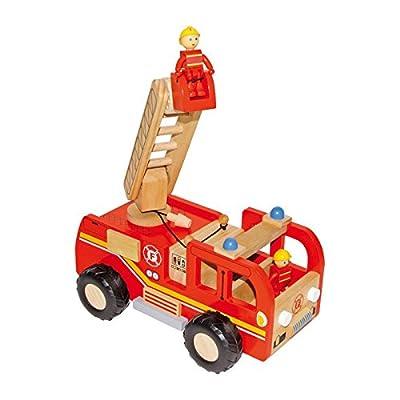 Feuerwehrlaster aus Holz, mit zwei kleinen Figuren sowie bewegbarer Drehleiter und Förderkorb, eine tolle Spielidee für Kinder ab 3 Jahren