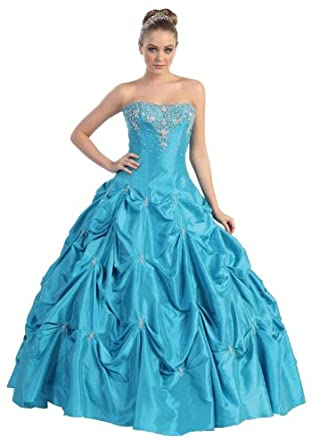 Ball Gown Strapless Formal Prom Wedding Dress #714 (6, Turquoise)