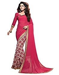 Arth Fashion Women's Georgette printed Saree With Blouse Piece (AYESHA3_Pink_FreeSize)