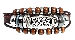 Stylish Swirl Bead Leather Zen Bracelet, 5.5 to 8