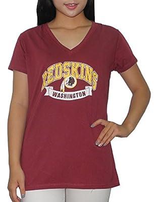 WASHINGTON REDSKINS Womens Athletic V-Neck T Shirt (Vintage Look)