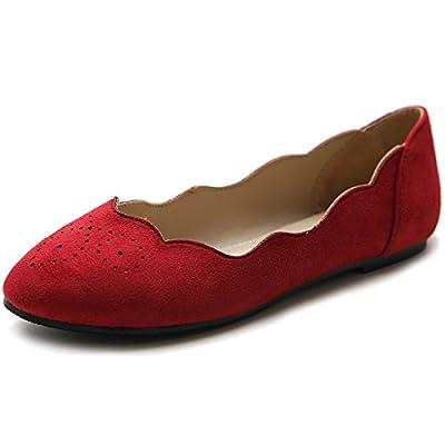 Ollio Women's Shoe Ballet Wave Pattern Faux Suede Comfort Flat