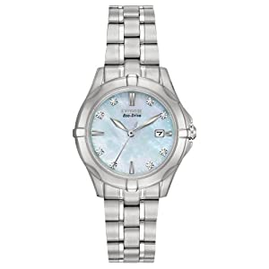 Citizen Women's EW1930-50D Diamonds Analog Display Japanese Quartz Silver Watch