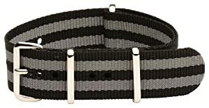 22mm Classic SS Nylon Striped Black / Grey - Easily Interchangeable Replacement Military Watch Strap / Band - Fits All Watches!!!
