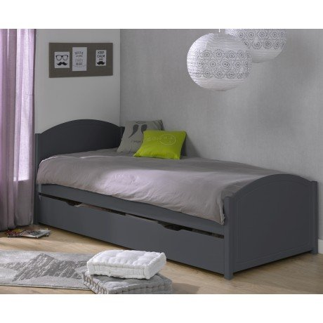 Alfred & Compagnie - Lit enfant 90x200 pin massif Clémence Anthracite
