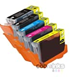 Canon CLI-8 / PGI-5 Multipack - 1 Full Set of 5 Canon Compatible Printer Ink Cartridges for Canon Pixma iP3300, iP3500, iP4200, iP4300, iP4500, iP5100, iP5200, iP5200R, iP5300, iP6600D, iP6700D, iP7500, iP7600, MP500, MP530, MP600, MP600R, MP610, MP800, MP800R, MP810, MP830, MP960, MP970, MX700, MX850, iX4000, iX5000, Pro 9000 printers - (CLI-8 C/M/Y/K + 1 PGI-5BK)by Cobra Inks