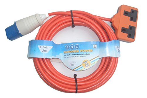 5m Caravan or Camping Mains Hook Up Cable 16 Amp Ceeform Plug to 13 Amp Double Socket Arctic Cable in Orange