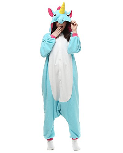 Adults Onesies - Animal Women Mens Blue Unicorn Onesie Costumes Cosplay Outfit Pajamas Small