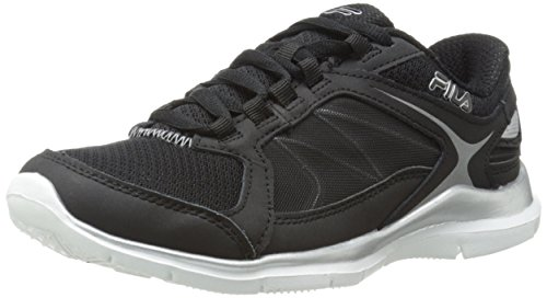 Fila Women's Memory Resilient 2 Training Shoe, Black/Black/Metallic Silver, 10 M US