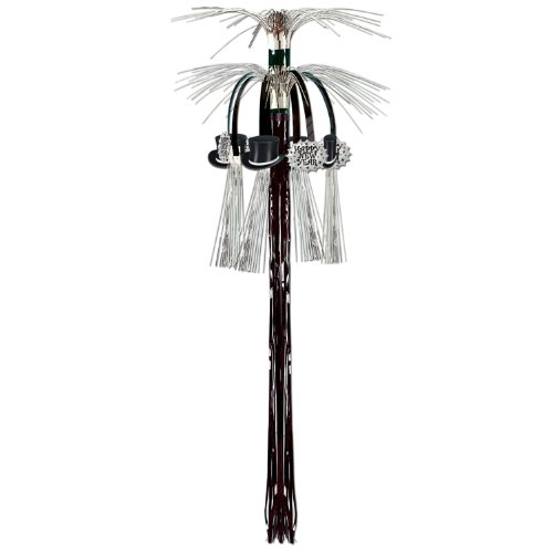New Year Cascade Hanging Column (black & silver) Party Accessory  (1 count) (1/Pkg)
