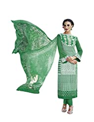 Green & Off White Colour Cotton Semi Party Wear Geometric Printed Pant Style Suit (Jinaam) 8393 - B014WE22VE