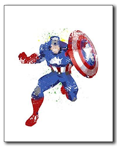 Captain America Watercolor Photo Poster Print 8x10 - Unique Superhero Wall Art (Cool Posters Marvel compare prices)