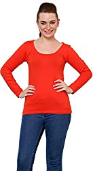 Finesse Women's Regular Fit Top (FFSCLT03, Red, Small)
