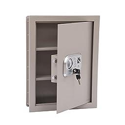 HomCom Flat Recessed Fingerprint Digital Home Security Gun Cash Wall Safe Box
