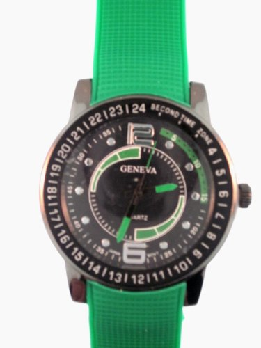 Green Silicone Rubber Gel Watch Checked Embossed Band Black Face. Numbers Around Bezel