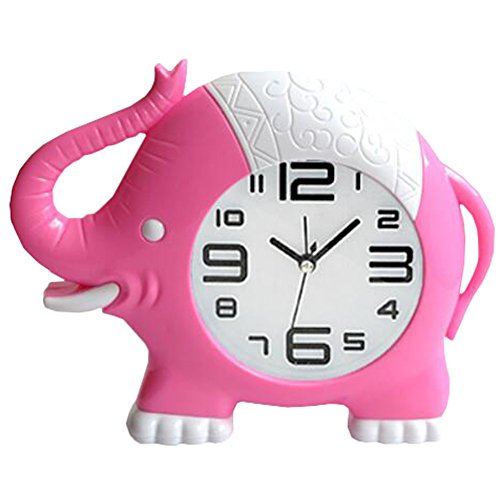 Retro Creative Elephant Noiseless Alarm Clock Kids' Birthday Gift Pink