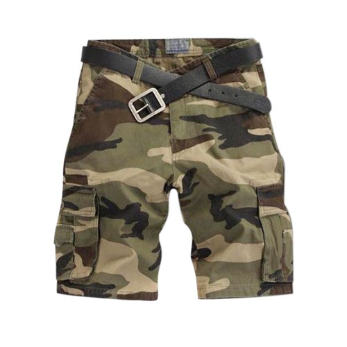Aubig Men's Woodland Camouflage Cargo Shorts Military Army Shorts Jeans Dark Green - Asian Size 28