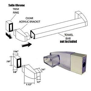 Clear Acrylic Towel Bar Brackets With Satin Chrome Sleeve