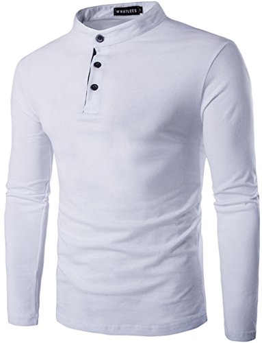 WHATLEES -  T-shirt - Maniche corte  - Uomo B126-White XL
