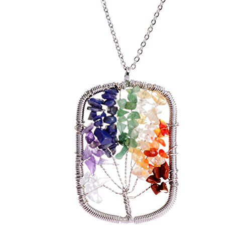 Tree of Life Pendant Necklace 7 Chakra Stone Rainbow Crystal Necklace jewelry Best-friend Necklace Gifts for Women