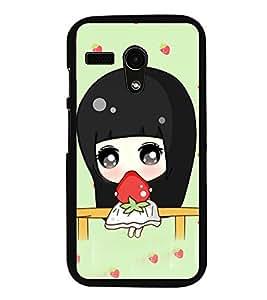 Fuson Premium 2D Back Case Cover Cute girl with Strawberry With Orange Background Degined For Motorola Moto G X1032::Motorola Moto G (1st Gen)